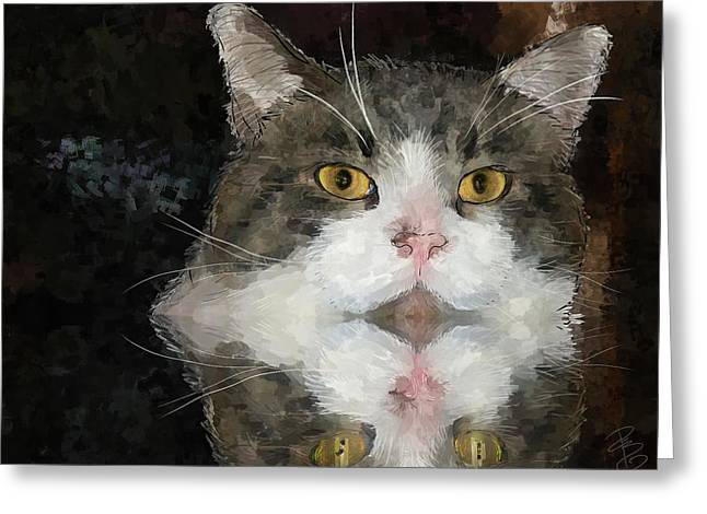 Cat At The Table Greeting Card by Debra Baldwin