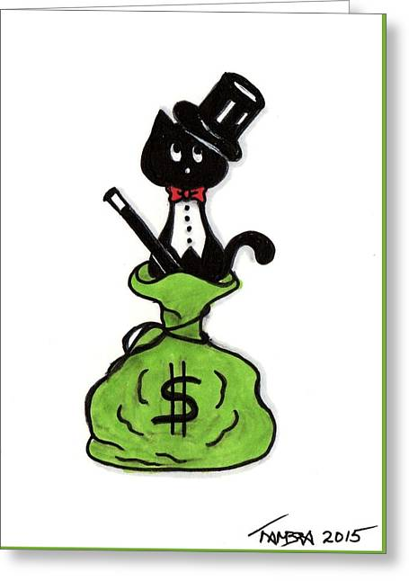 Cat$ B Rich Greeting Card