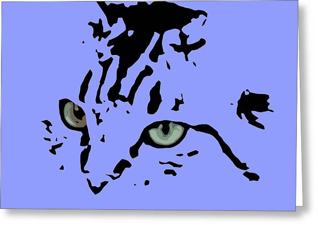 Cat Black Abstract Art Purple Background Greeting Card by Pablo Franchi