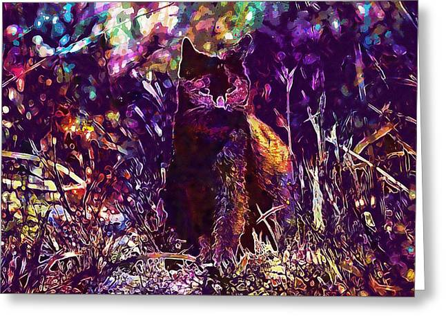Greeting Card featuring the digital art Cat Black Sun Meadow  by PixBreak Art