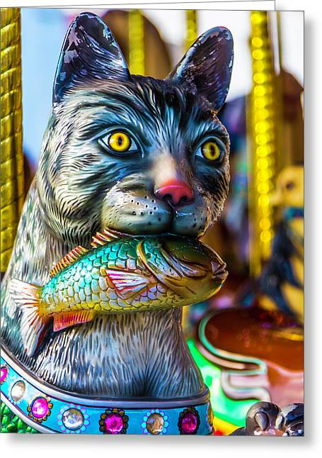 Cat Carrousel With Fish Greeting Card