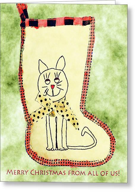 Cat Christmas Stocking Card Greeting Card