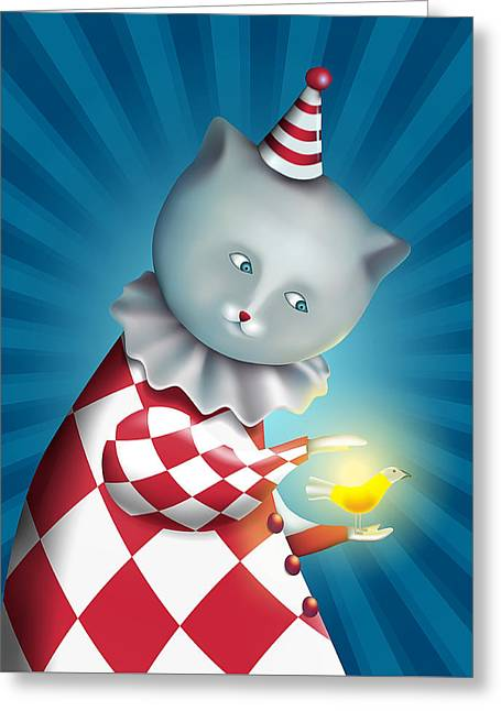Cat Clown With Bird On A Retro Blue Background Greeting Card by Oksana Ariskina