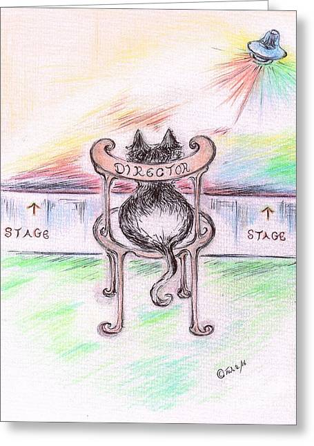 Cat- Director  Greeting Card by Teresa White