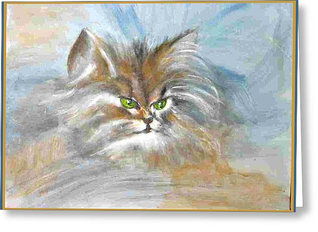Greeting Card featuring the painting cat by Dragica  Micki Fortuna