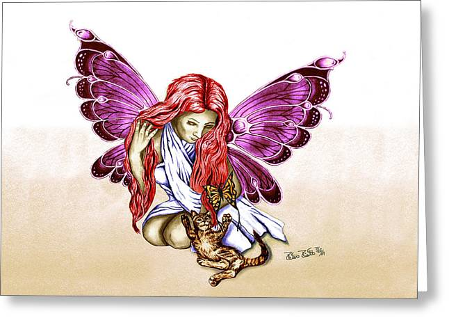 Pencil Greeting Cards - Cat Fairy in purple  Greeting Card by Peter Piatt