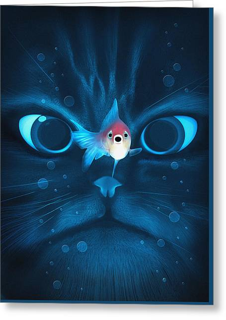 Cat Fish Greeting Card by Nicholas Ely