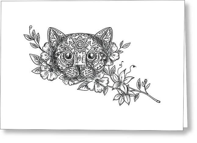 Cat Head Jasmine Flower Tattoo Greeting Card by Aloysius Patrimonio