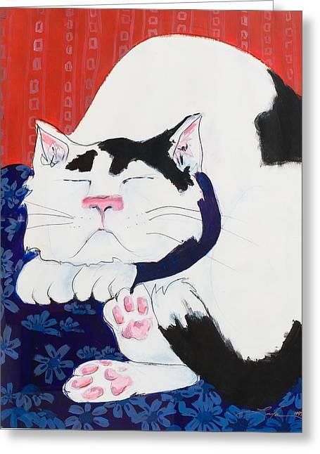 Cat I - Asleep Greeting Card by Leela Payne
