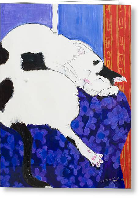 Cat IIi Peaceful   Greeting Card by Leela Payne
