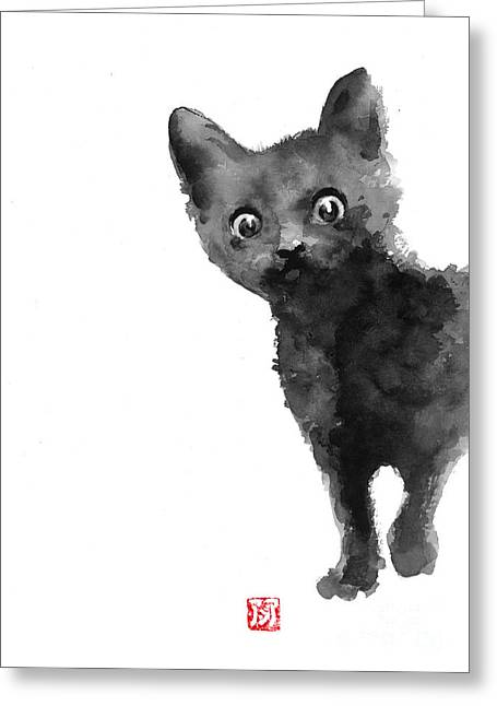 Cat Illustration Watercolor Painting Greeting Card