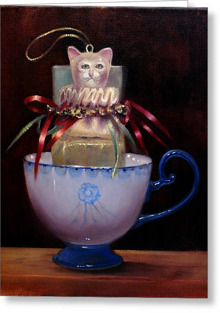 Cat In A Cup Greeting Card