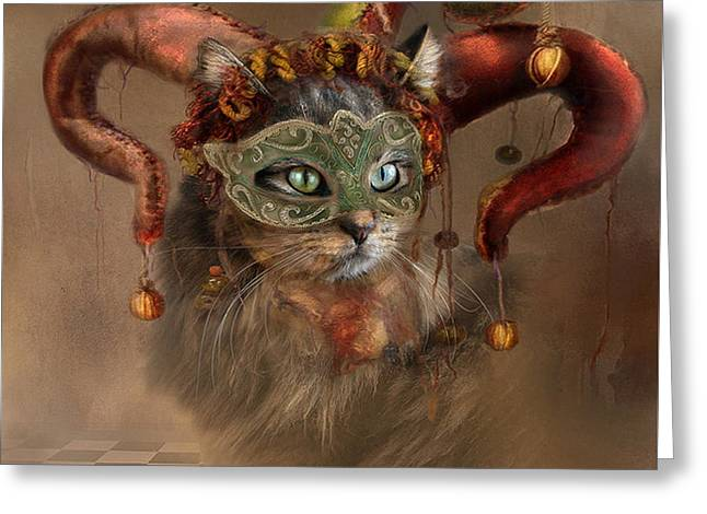Cat In A Hat Greeting Card by Kathy Russell