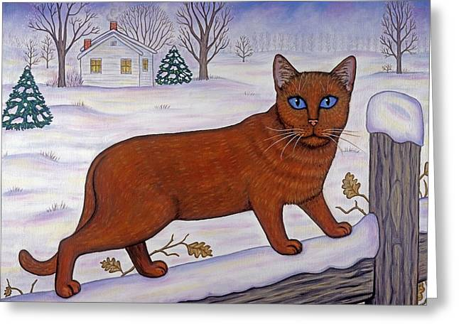 Cat In Christmas Landscape Greeting Card by Linda Mears