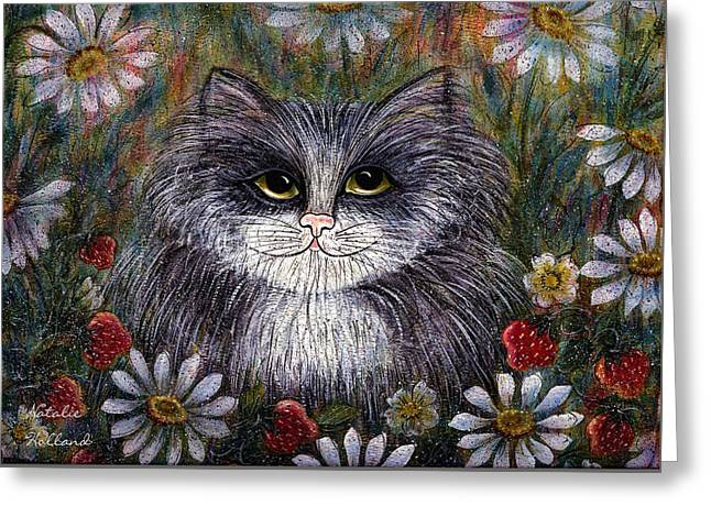 Cat In Garden Greeting Card by Natalie Holland