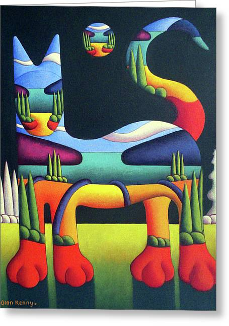 Cat In Landscape In Cat With White Trees  Greeting Card by Alan Kenny