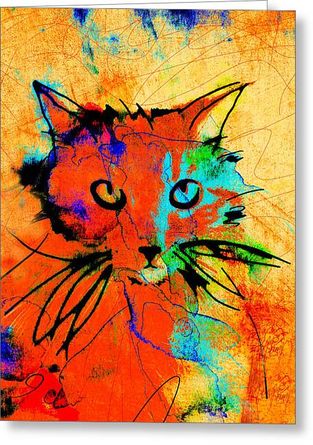 Cat In Red And Yellow Greeting Card