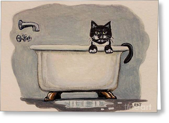 Cat In The Bathtub Greeting Card