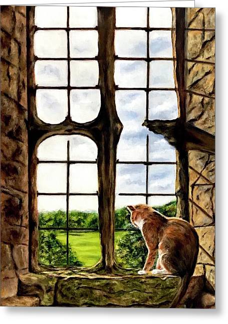 Cat In The Castle Window-close Up Greeting Card