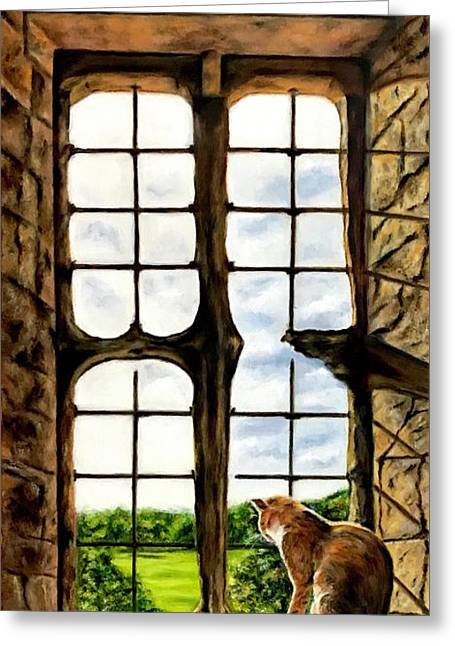 Cat In The Castle Window Greeting Card
