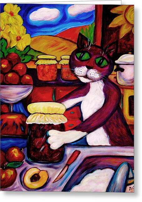 Greeting Card featuring the painting Cat In The Kitchen Bottling Fruit by Dianne  Connolly