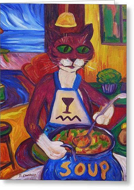 Cat In The Kitchen Making Soup Greeting Card