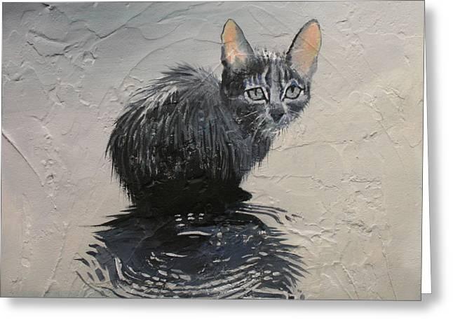 Cat In The Rain Greeting Card by Jan Szymczuk