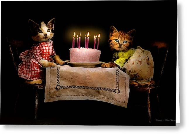 Cat - It's Our Birthday - 1914 Greeting Card by Mike Savad