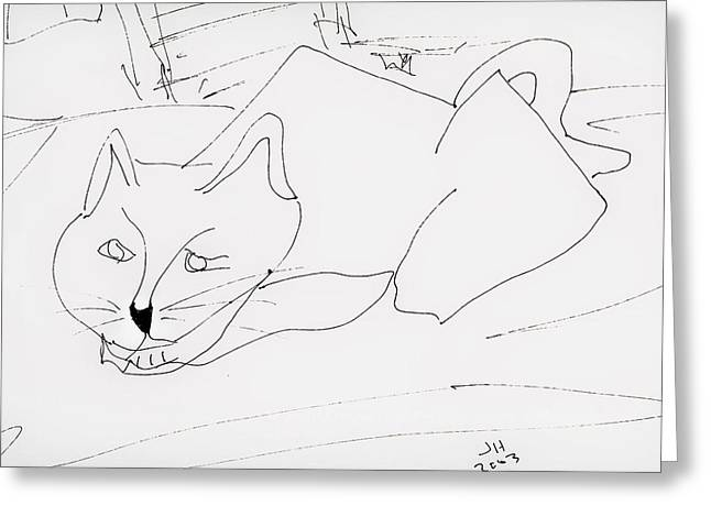 CAT Greeting Card by Jerry Hanks