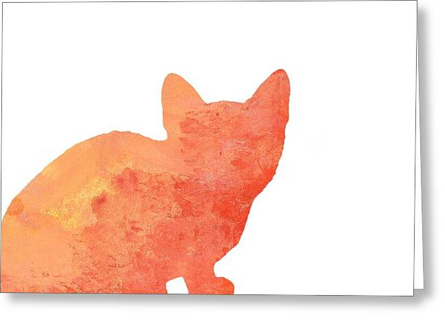 Watercolor Orange Cat Silhouette Greeting Card