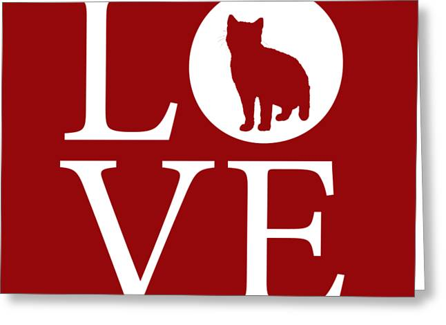 Cat Love Red Greeting Card