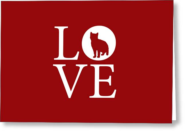 Cat Love Red Greeting Card by Nancy Ingersoll