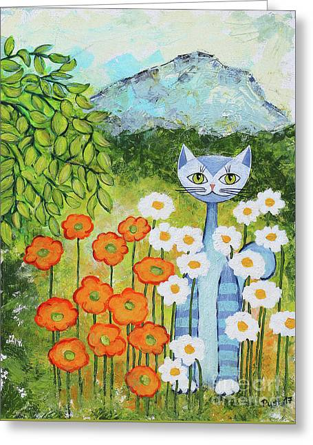 Cat Loves Nature Greeting Card by Jutta Maria Pusl