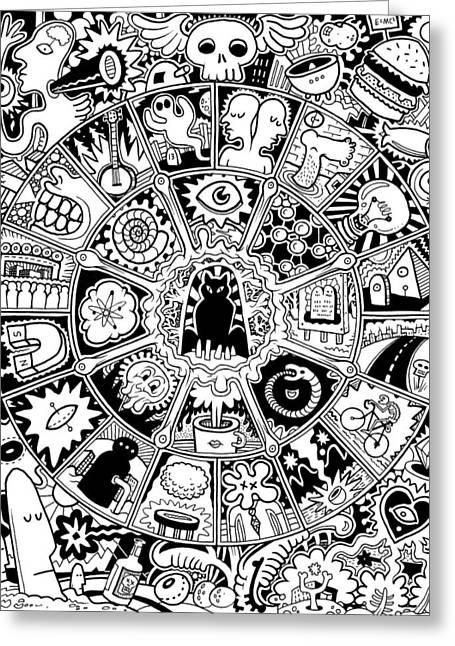 Cat Mandala Black And White Greeting Card
