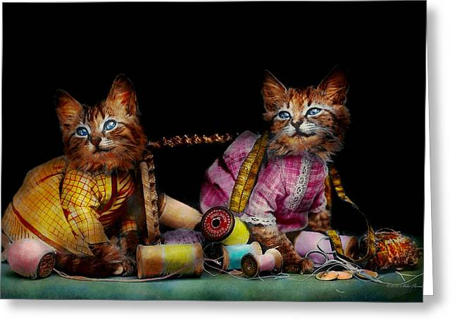 Cat - Mischief Makers 1915 Greeting Card by Mike Savad