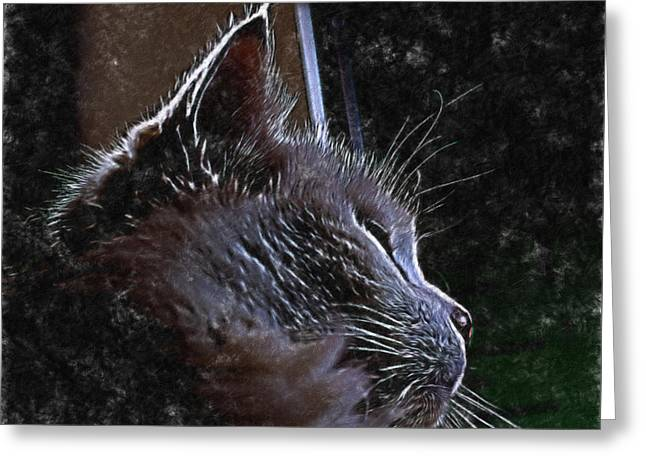 Cat Muse Greeting Card by Aliceann Carlton
