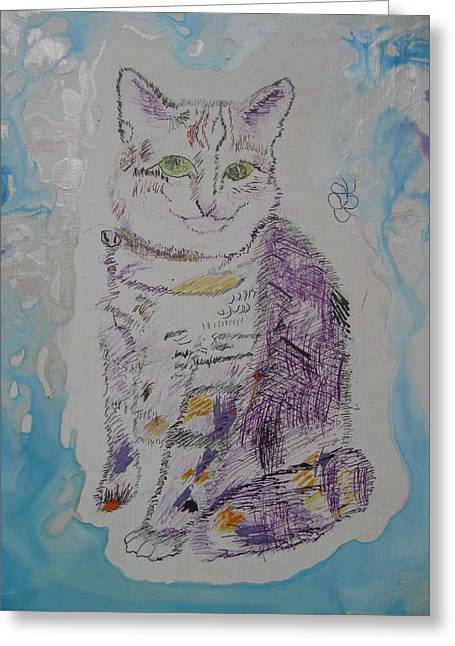Greeting Card featuring the painting Cat Named Jade by AJ Brown