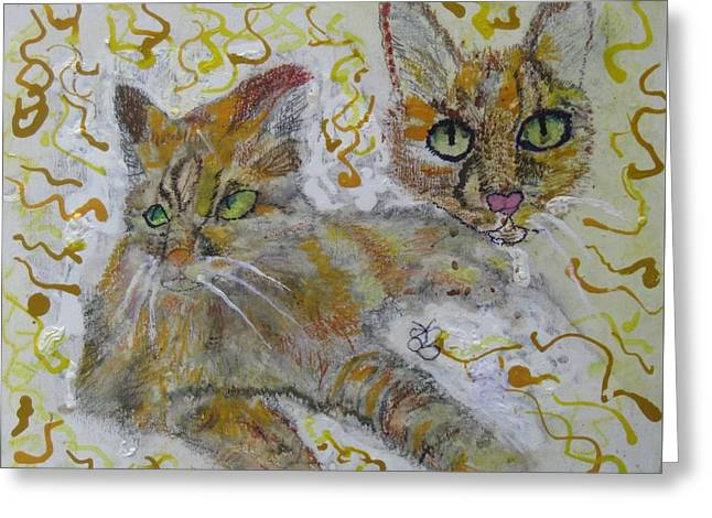 Greeting Card featuring the painting Cat Named Phoenicia by AJ Brown