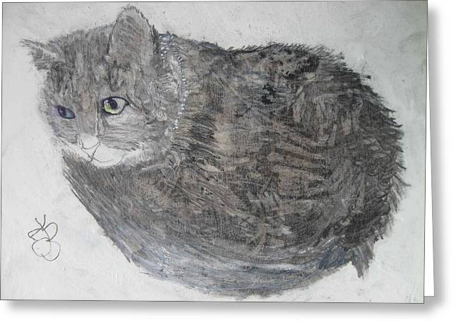 Greeting Card featuring the mixed media Cat Named Shrimp by AJ Brown