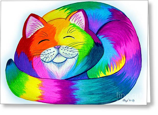 Cat Napping Greeting Card by Nick Gustafson
