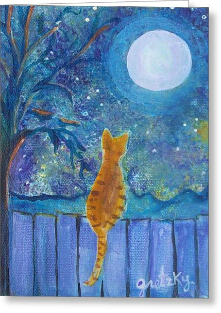 Cat On A Fence In The Moonlight Greeting Card