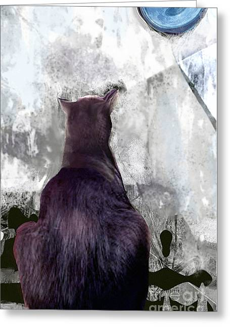 Cat's Blue Moon Greeting Card