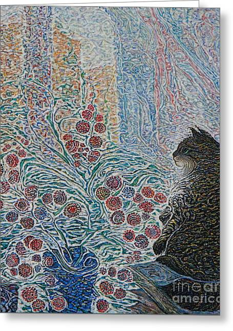 Cat On My Window Greeting Card by Anna Yurasovsky