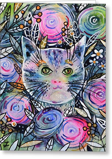 Greeting Card featuring the painting Cat On Flower Bed by Zaira Dzhaubaeva