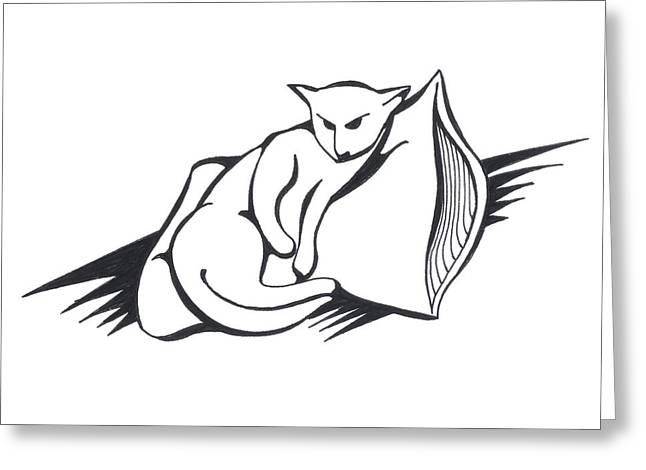 Greeting Card featuring the drawing Cat On Pillow by Keith A Link
