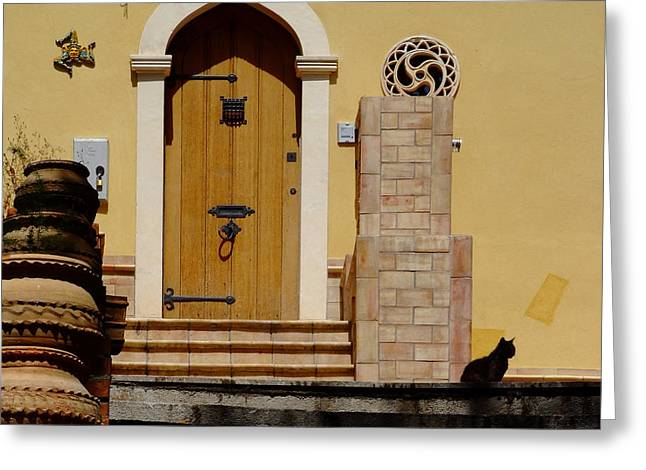 Cat On Steps Catania Italy Greeting Card