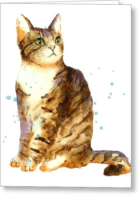 Cat Painting Greeting Card by Alison Fennell