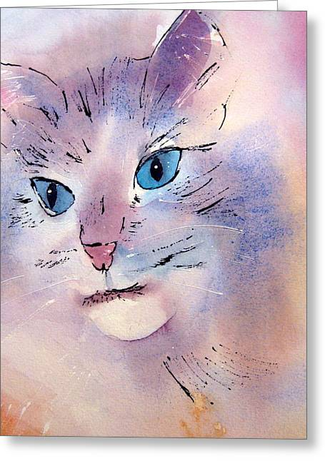 Cat Greeting Card by Pat Vickers