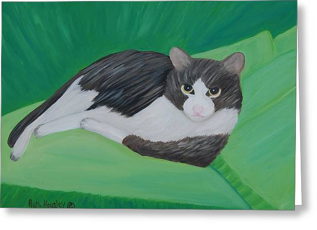 Cat Portrait  Sold Greeting Card by Ruth  Housley