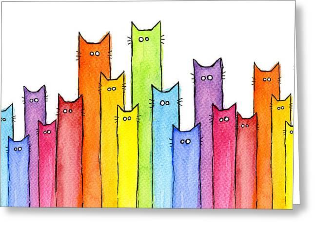 Cat Rainbow Watercolor Pattern Greeting Card